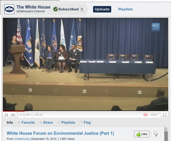 Whitehouse.gov screenshot of Lisa Jackson speaking at First White House Environmental Justice Forum