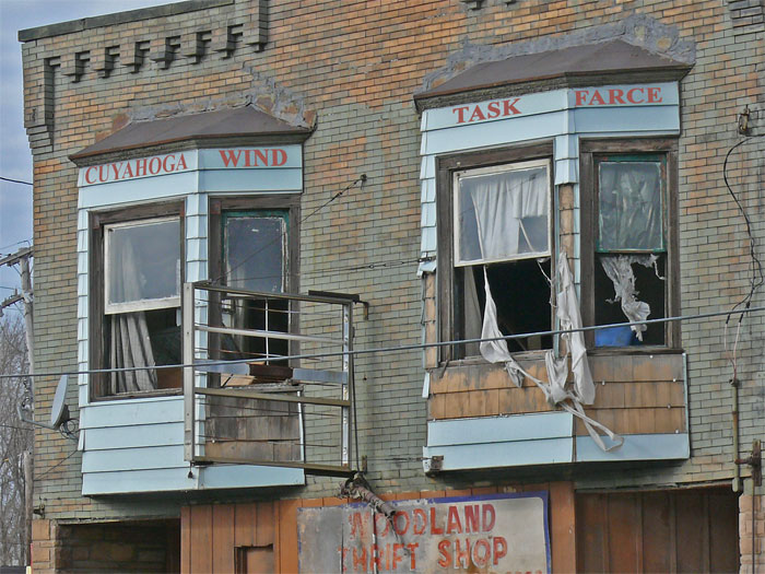 cleveland vacant building ripped curtains blowing out window