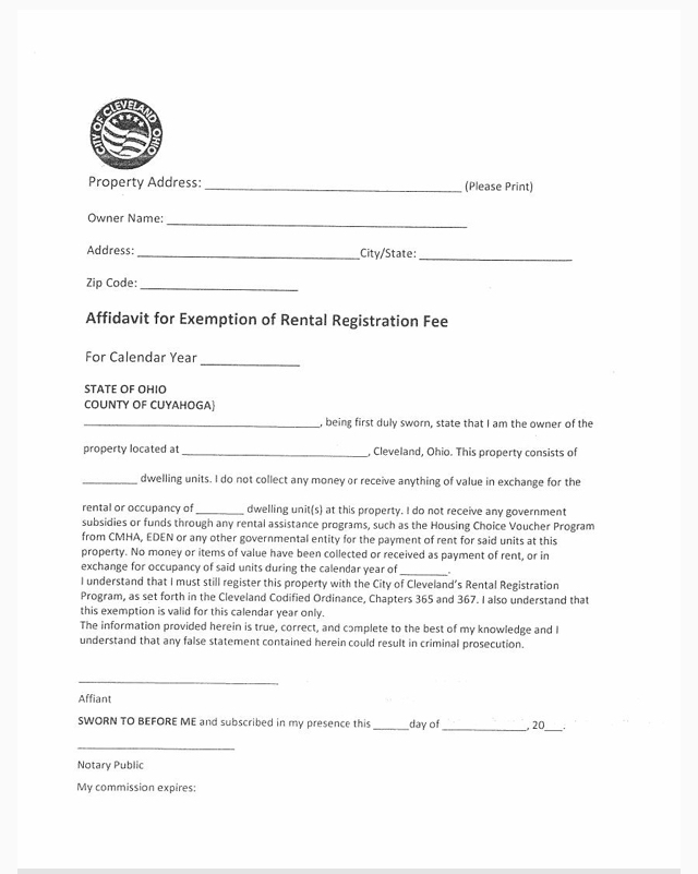 AFFIDAVIT FOR EXEMPTION IF RENTAL REGISTRATION FEE