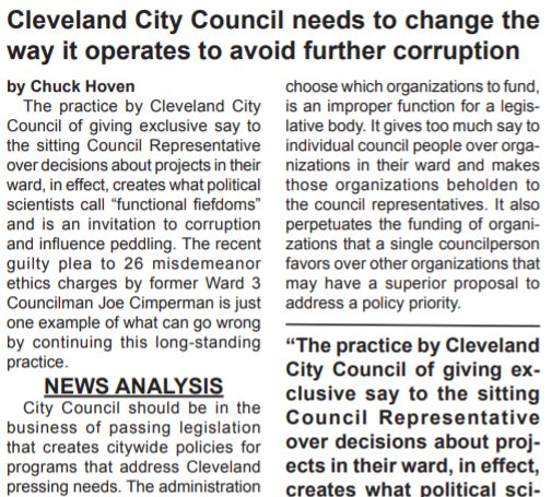 Chuck Hoven at PLAIN PRESS calls out criminal deals at CLE City Council