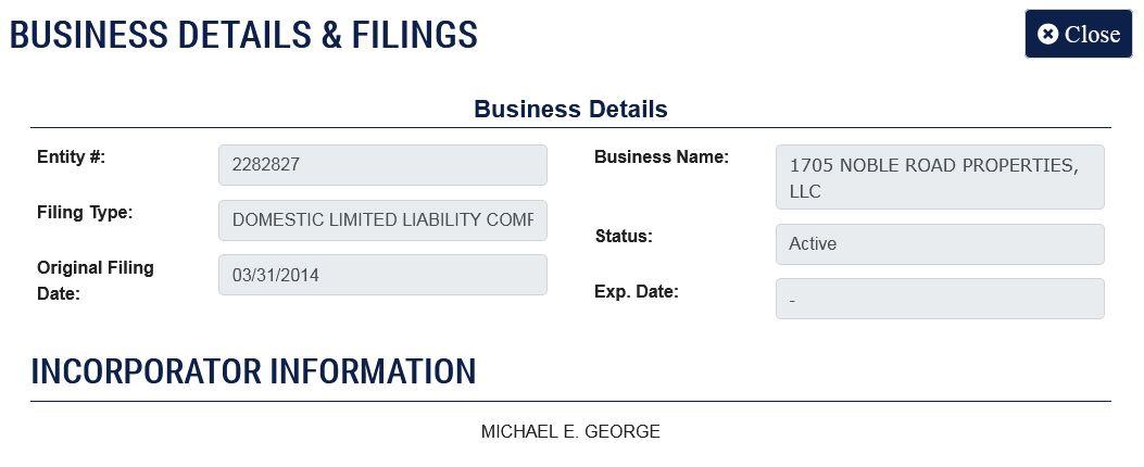 Michael George - 1705 NOBLE ROAD PROPERTIES, LLC