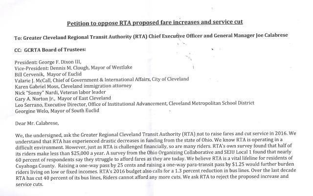 Petition Against RTA Rate Hike