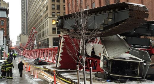 Upside down crane collapse in NYC