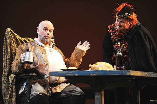 Falstaff (Gaetan Laperriere) talks with Dr. Caius (Timothy Culver).    photo by: Eric Mull