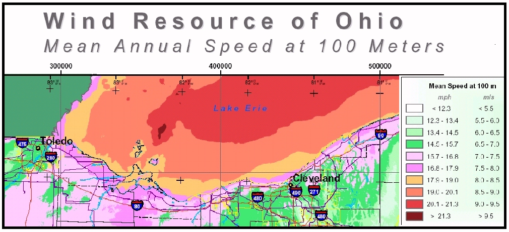 Lake Erie Wind Map at 100 Meters